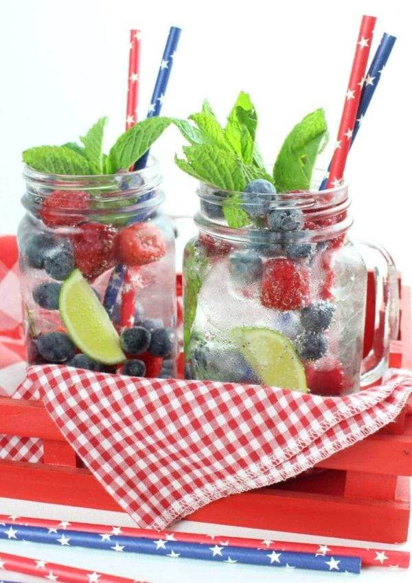 Raspberry and Blueberry Silver Tequila Mojito