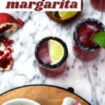 Pomegranate margaritas hit the spot served on the rocks in a salt rimmed glass.