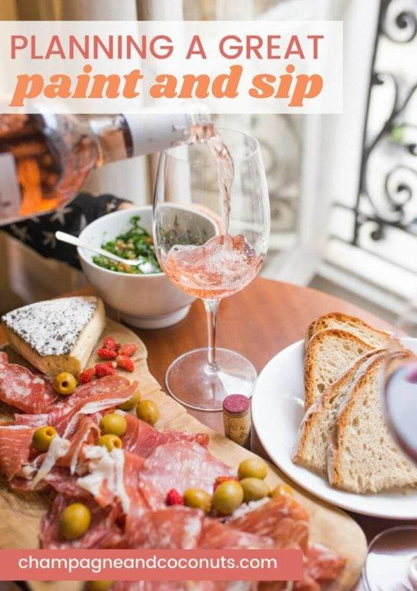 Planning a great paint and sip night with a charcuterie board and cocktails