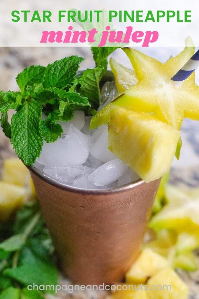 Star Fruit Pineapple Mint Julep on a granite background in a copper julep cup