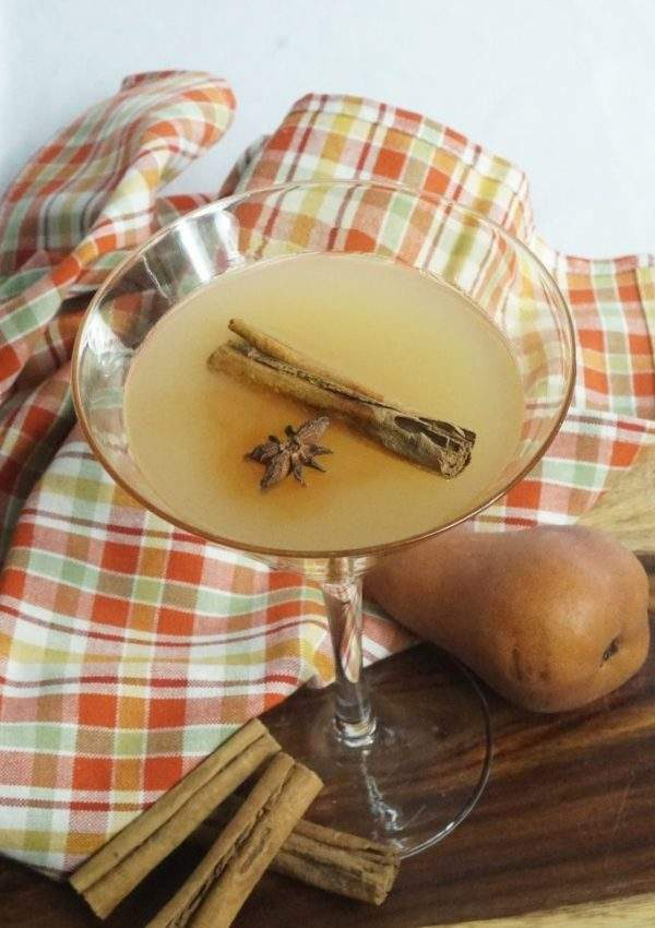 Cinnamon Pear Martini on plaid napkin