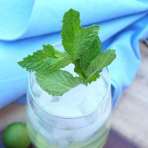 A sprig of fresh mint rests in the mouth of a cocktail glass on a blue napkin.