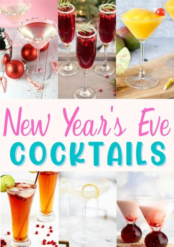 A photo collage of New Year's Eve Cocktails with martinis, mimosas, champagne cocktails and spritzers.